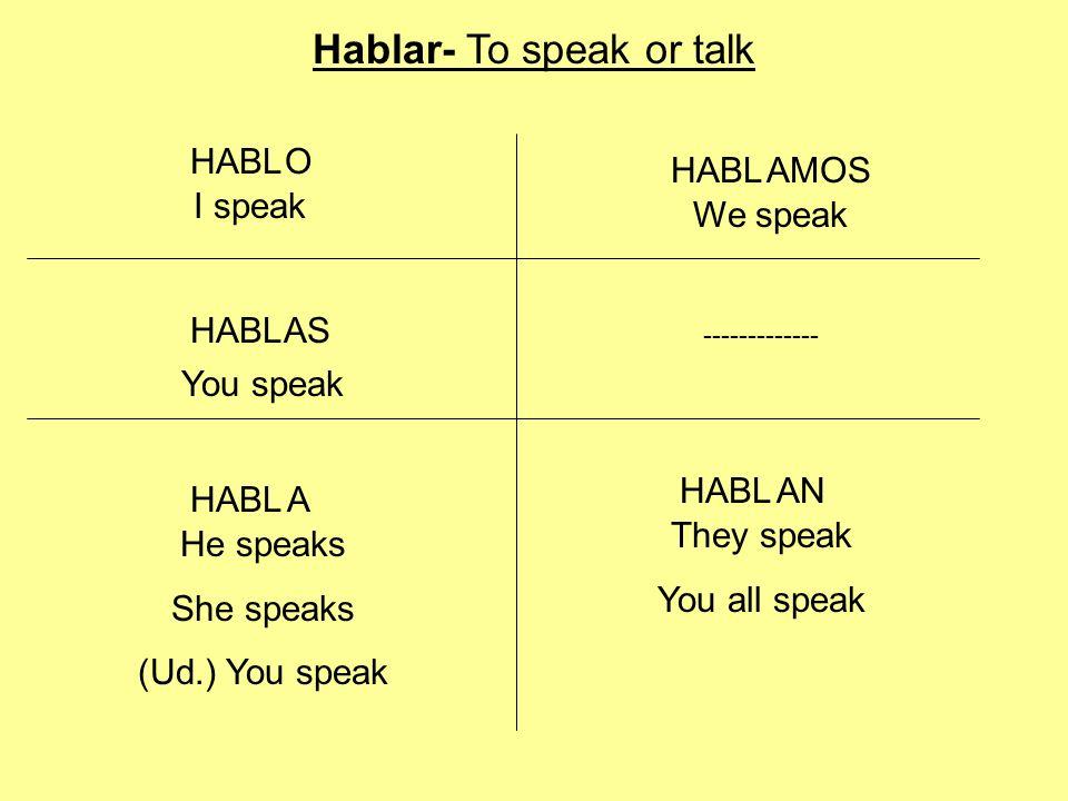HABL O AN AMOS A AS I speak Hablar- To speak or talk You speak They speak You all speak We speak He speaks She speaks (Ud.) You speak -------------