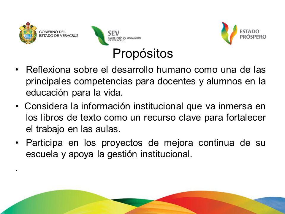 Propósitos Reflexiona sobre el desarrollo humano como una de las principales competencias para docentes y alumnos en la educación para la vida. Consid