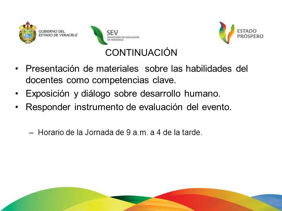 CONTINUACIÓN Presentación de materiales sobre las habilidades del docentes como competencias clave. Exposición y diálogo sobre desarrollo humano. Resp