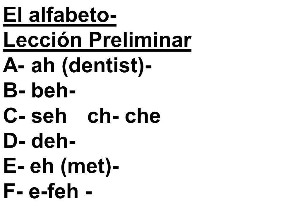 El alfabeto- Lección Preliminar A- ah (dentist)- B- beh- C- sehch- che D- deh- E- eh (met)- F- e-feh -