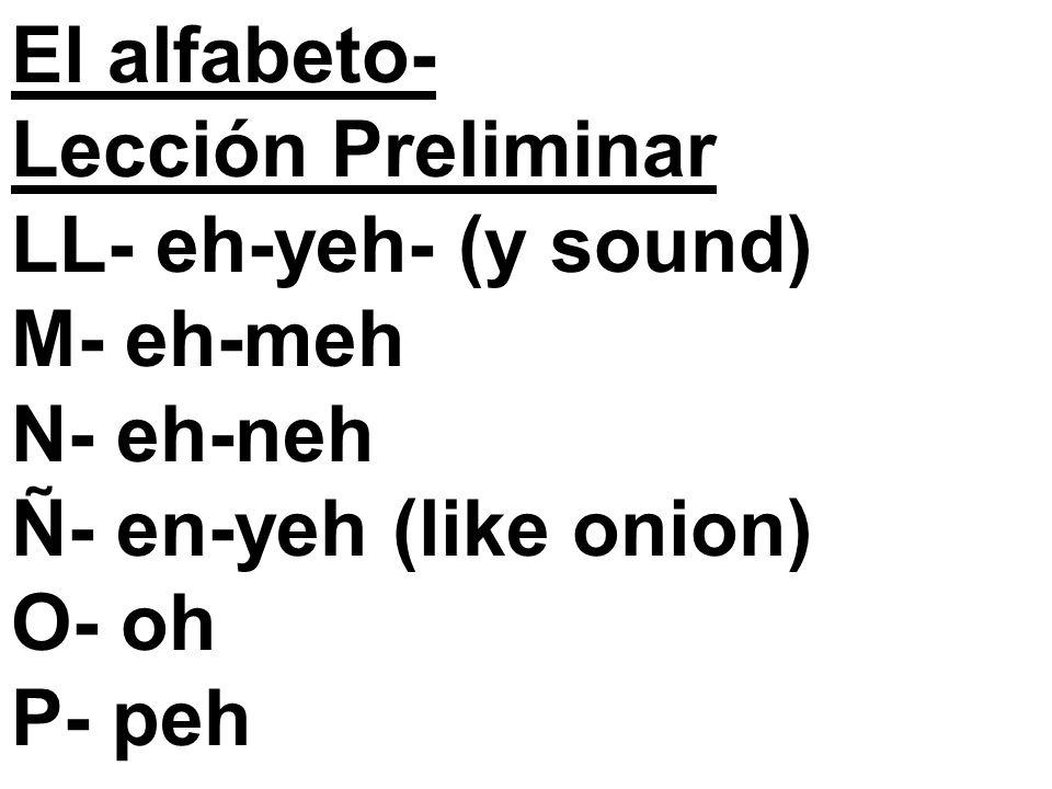 El alfabeto- Lección Preliminar LL- eh-yeh- (y sound) M- eh-meh N- eh-neh Ñ- en-yeh (like onion) O- oh P- peh