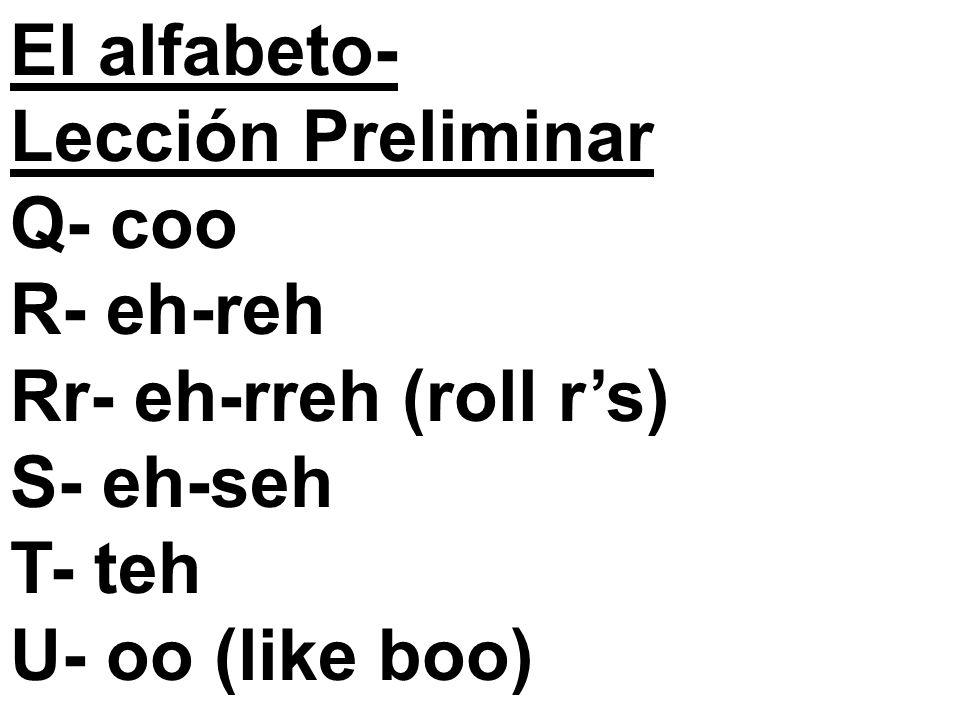 El alfabeto- Lección Preliminar Q- coo R- eh-reh Rr- eh-rreh (roll rs) S- eh-seh T- teh U- oo (like boo)