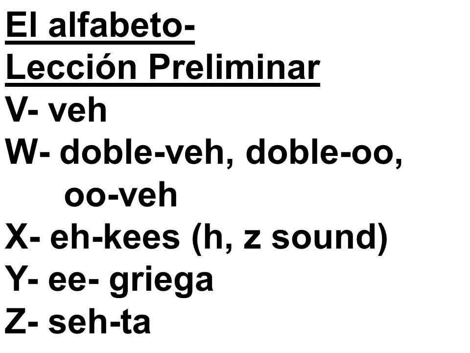 El alfabeto- Lección Preliminar V- veh W- doble-veh, doble-oo, oo-veh X- eh-kees (h, z sound) Y- ee- griega Z- seh-ta