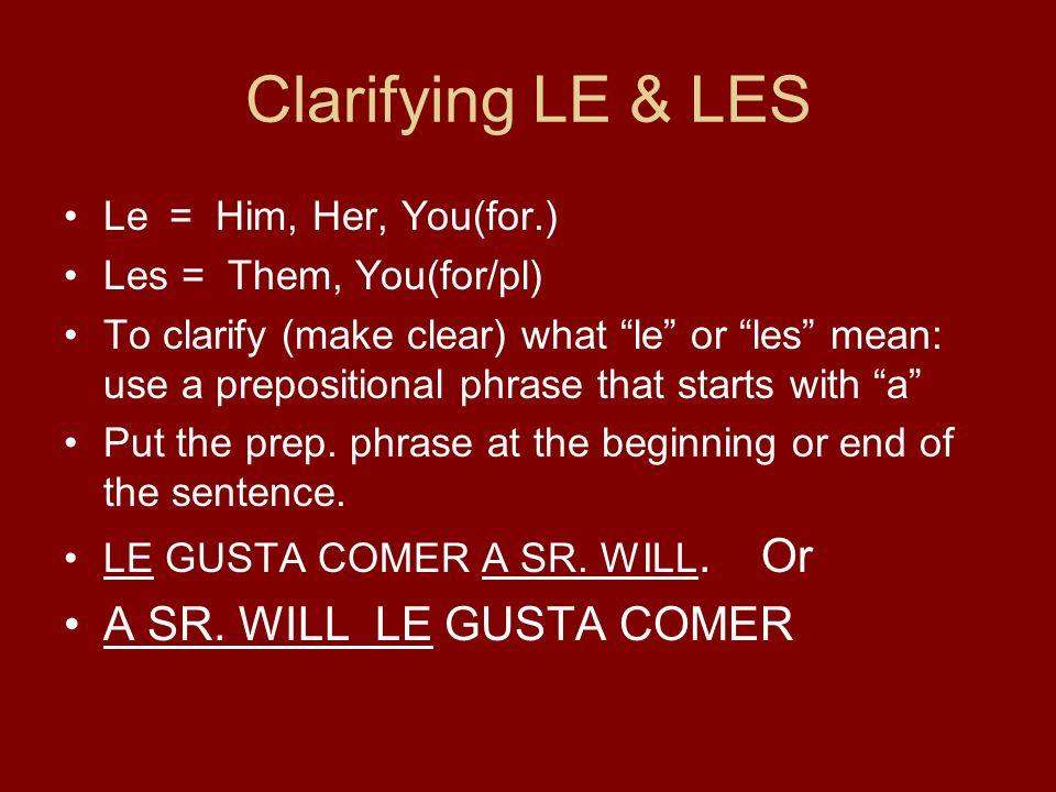 Prepositional Pronouns- used only in a prepositional phrase a mía nosotros a ti--------- a él (a Juan)a ellos (a mis padres) a ella (a la chica)a ellas (a Silvia y a Gloria) a Ud.a Uds.