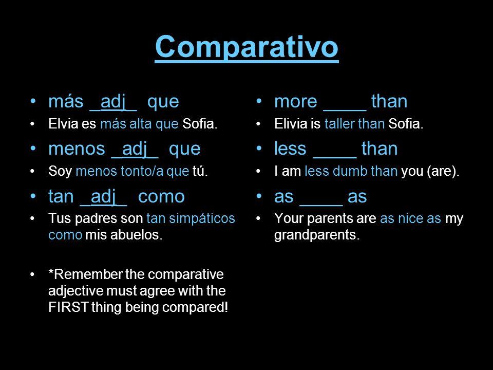 Comparativo más _adj_ que Elvia es más alta que Sofia. menos _adj_ que Soy menos tonto/a que tú. tan _adj_ como Tus padres son tan simpáticos como mis