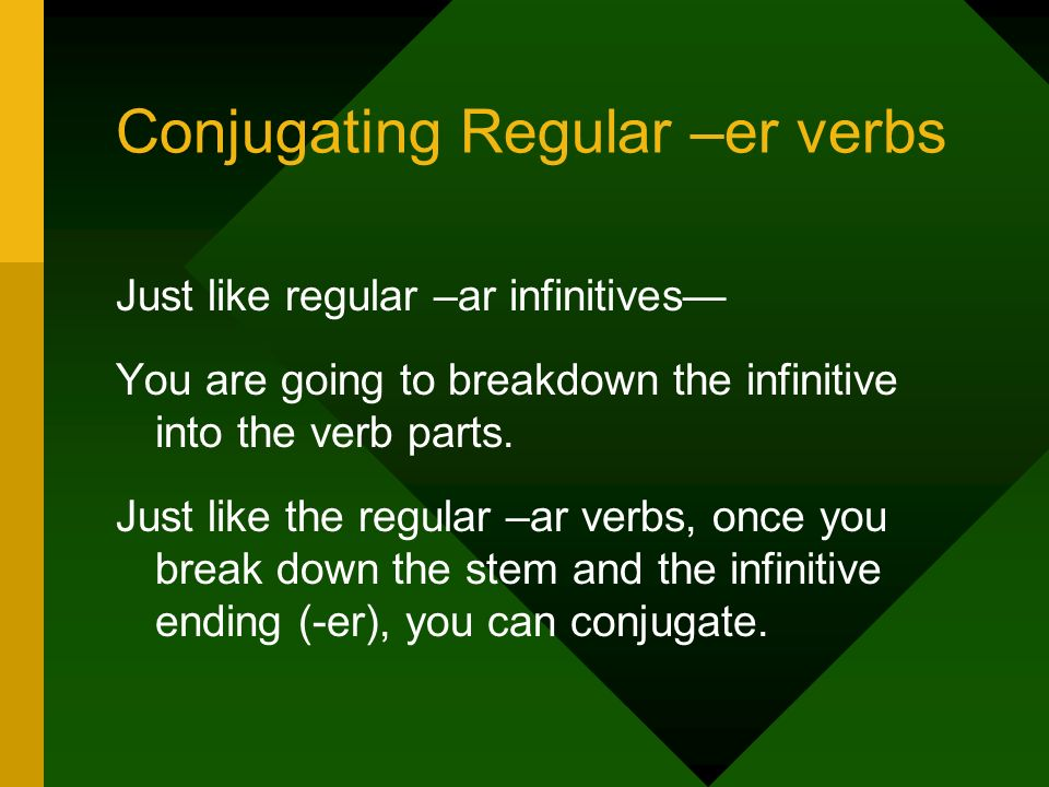 Conjugating Regular –er verbs Just like regular –ar infinitives You are going to breakdown the infinitive into the verb parts. Just like the regular –