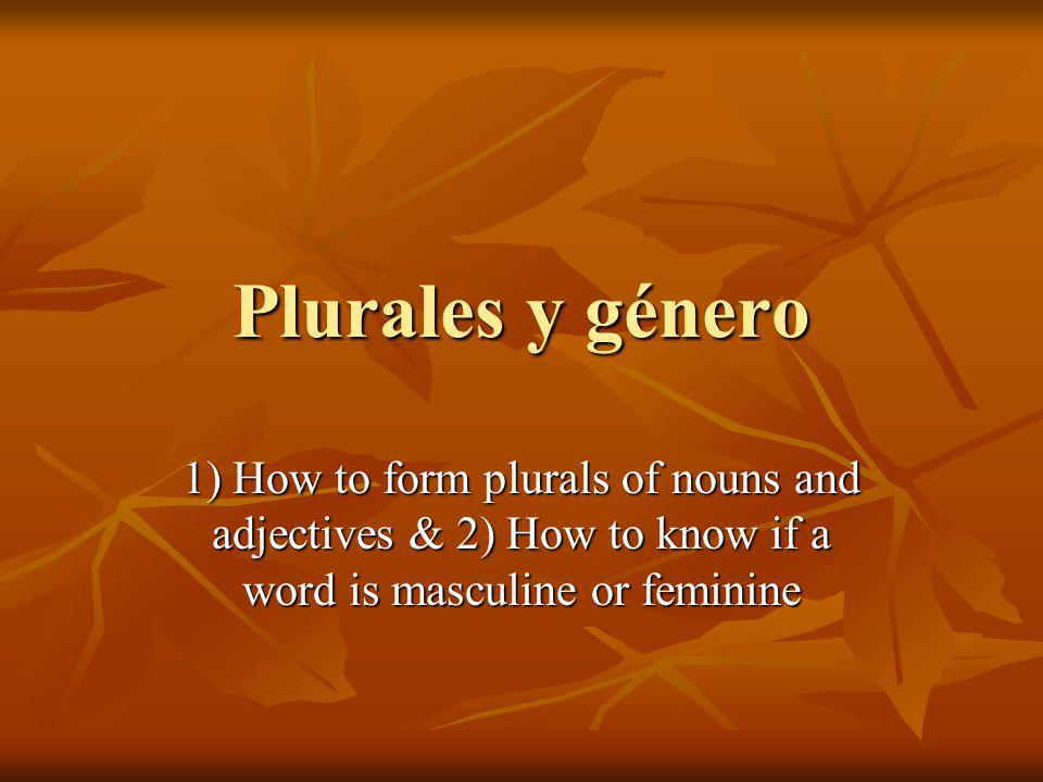 Plurales y género 1) How to form plurals of nouns and adjectives & 2) How to know if a word is masculine or feminine
