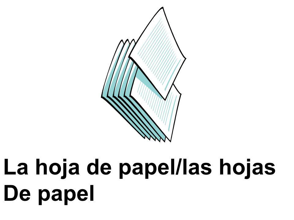 La hoja de papel/las hojas De papel