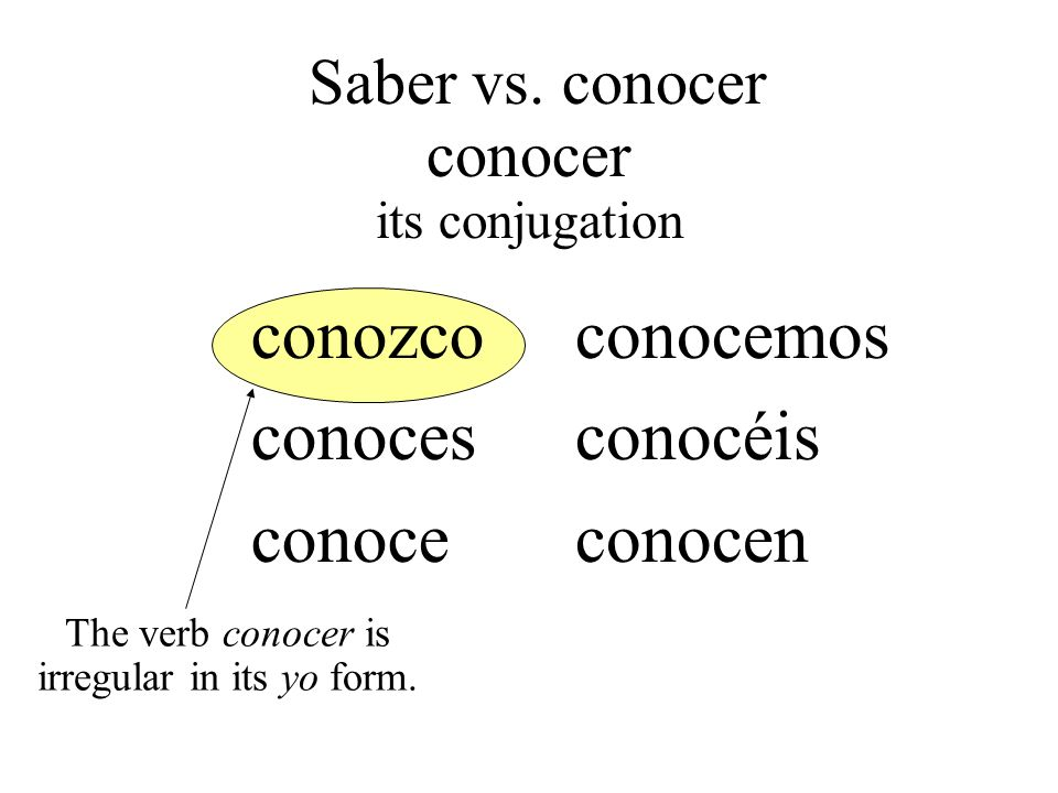 conozco conoces conoce conocemos conocéis conocen The verb conocer is irregular in its yo form. Saber vs. conocer conocer its conjugation