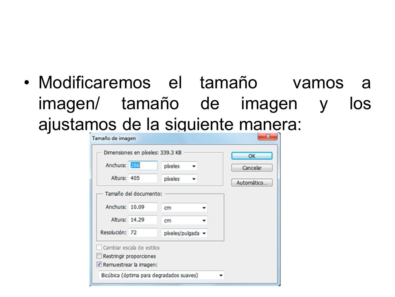 Modificaremos el tamaño vamos a imagen/ tamaño de imagen y los ajustamos de la siguiente manera: