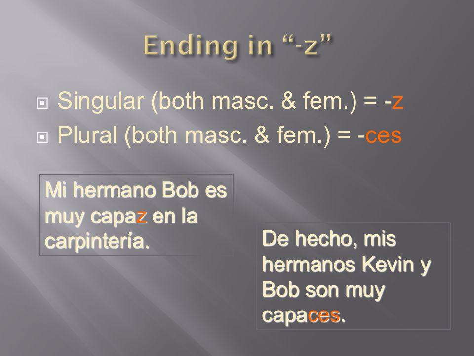 Singular (both masc. & fem.) = -z Plural (both masc. & fem.) = -ces Mi hermano Bob es muy capaz en la carpintería. De hecho, mis hermanos Kevin y Bob