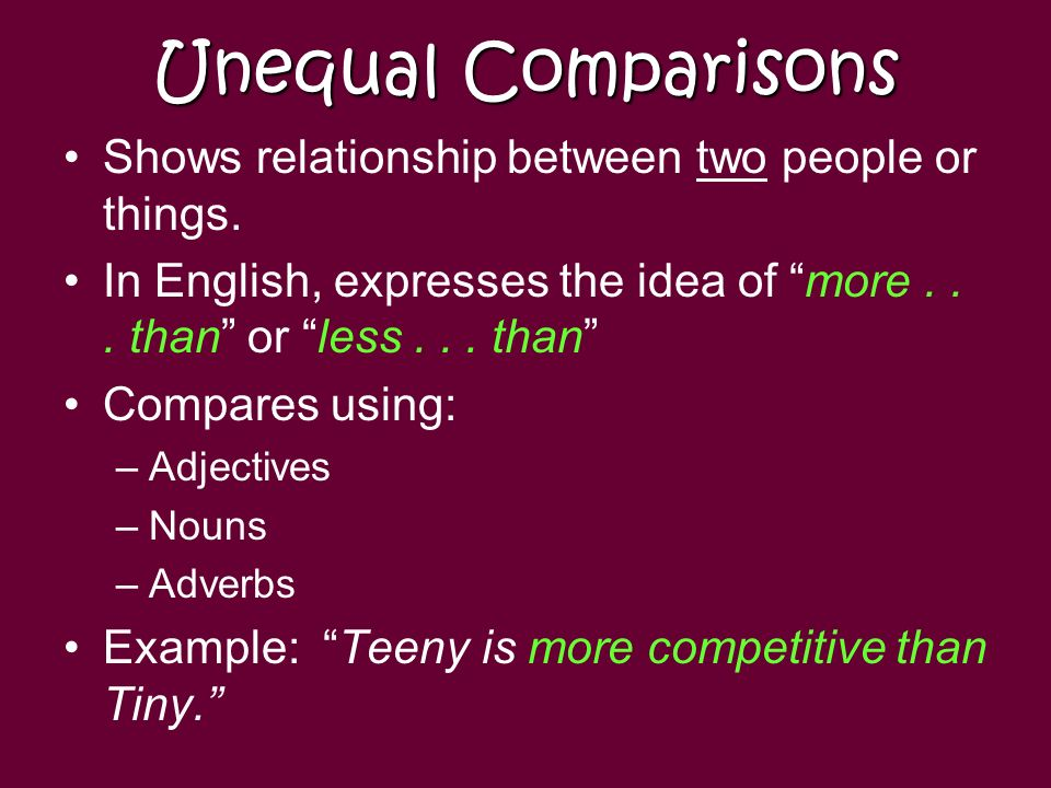 Unequal Comparisons & Superlatives