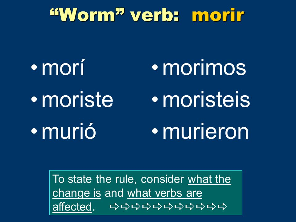 Worm verb: morir morí moriste murió morimos moristeis murieron To state the rule, consider what the change is and what verbs are affected.