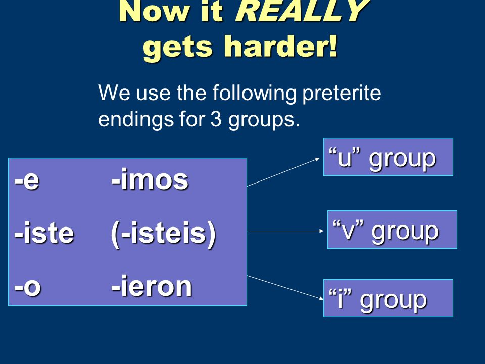 Now it REALLY gets harder. We use the following preterite endings for 3 groups.