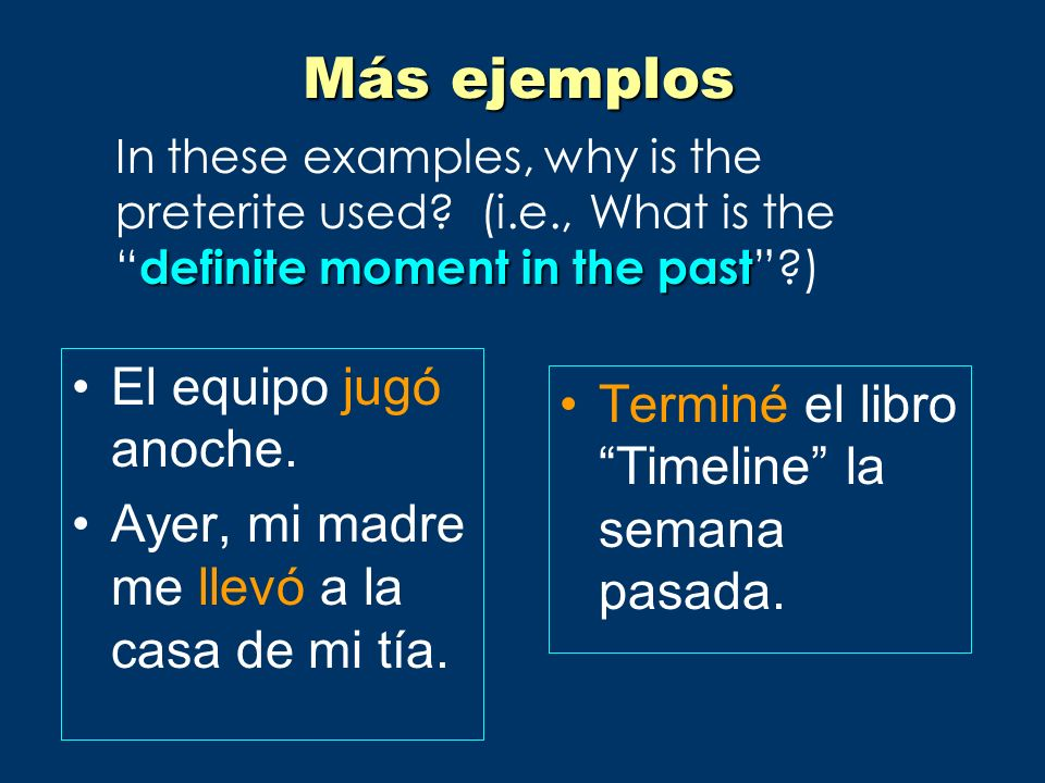 Uses, contd heart and head (emotions and mental states) following mientras used to was/were __-ing was/were going to + infinitive –Iba a estudiar, pero no lo hice.