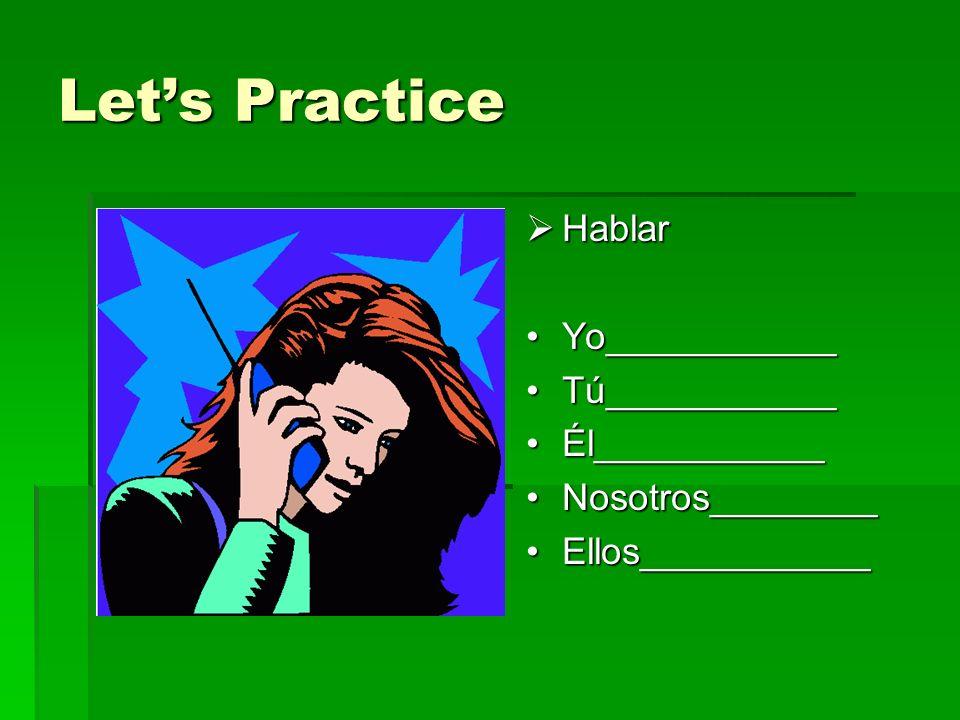 Lets Practice Hablar Hablar Yo___________Yo___________ Tú___________Tú___________ Él___________Él___________ Nosotros________Nosotros________ Ellos___________Ellos___________