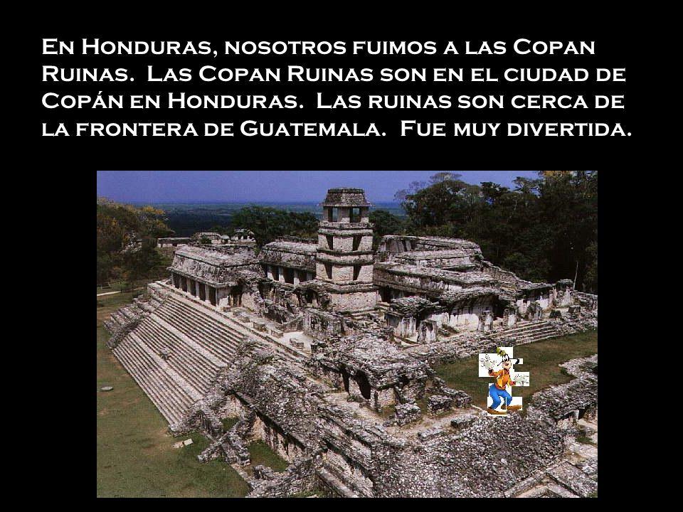 En Honduras, nosotros fuimos a las Copan Ruinas. Las Copan Ruinas son en el ciudad de Copán en Honduras. Las ruinas son cerca de la frontera de Guatem