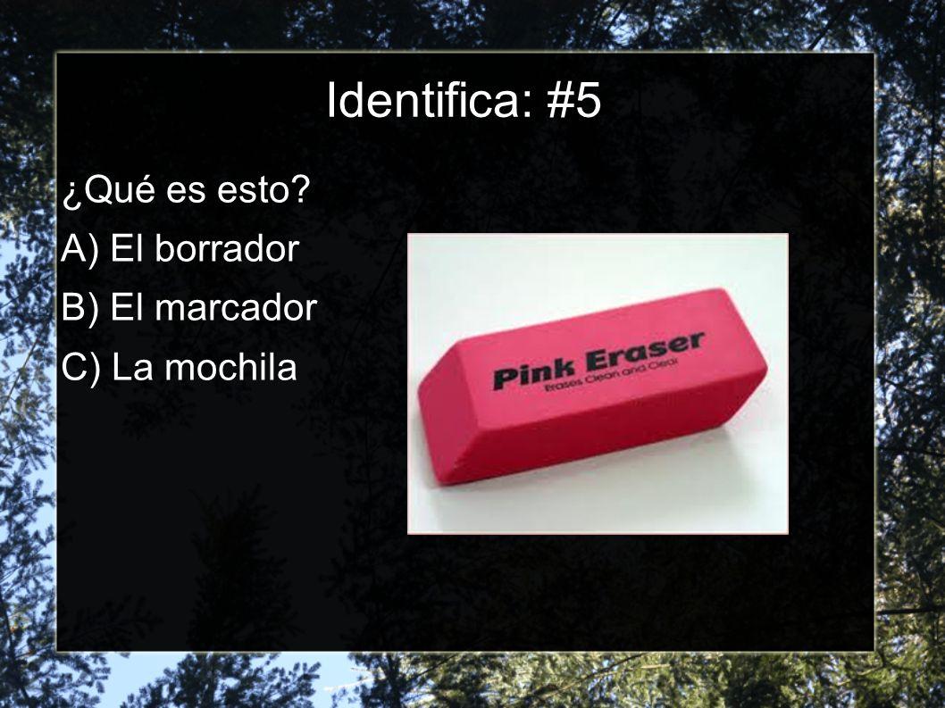 Identifica: #4 ¿Qué es esto? A) El lápiz B) El sacapuntas C) El borrador
