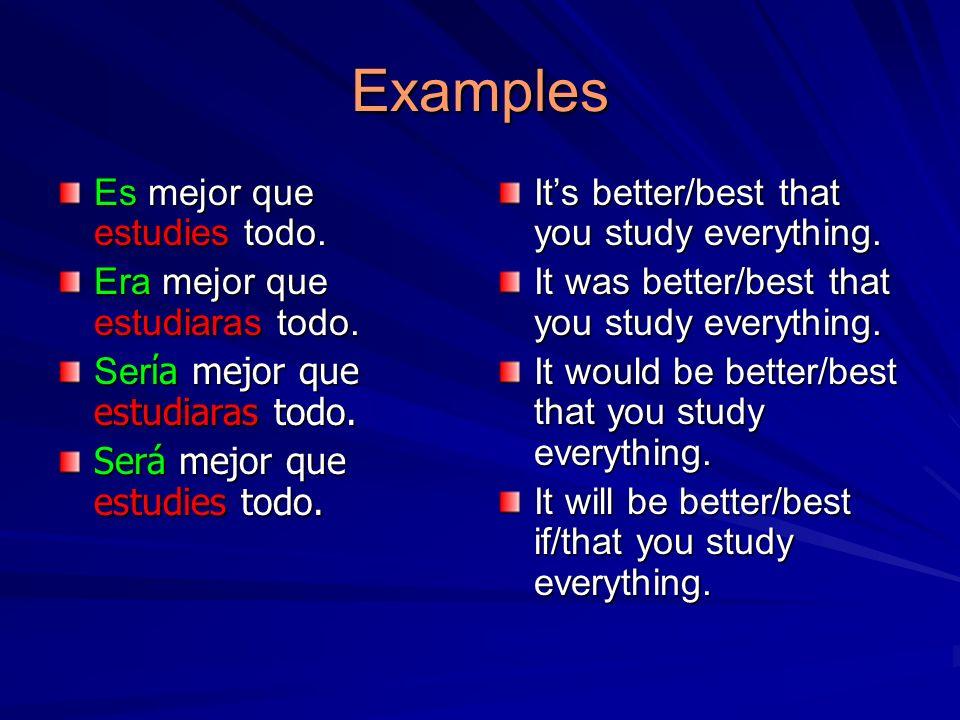 Examples Es mejor que estudies todo. Era mejor que estudiaras todo. Ser a mejor que estudiaras todo. Será mejor que estudies todo. Its better/best tha