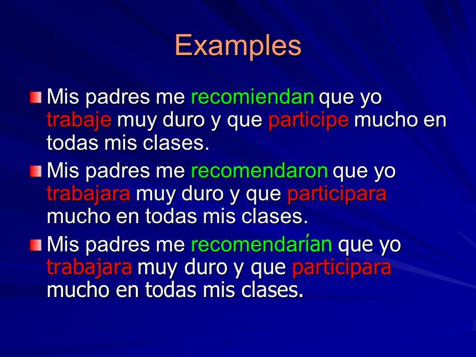 Examples Mis padres me recomiendan que yo trabaje muy duro y que participe mucho en todas mis clases. Mis padres me recomendaron que yo trabajara muy