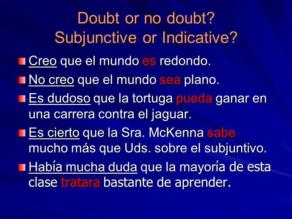 Doubt or no doubt? Subjunctive or Indicative? Creo que el mundo es redondo. No creo que el mundo sea plano. Es dudoso que la tortuga pueda ganar en un