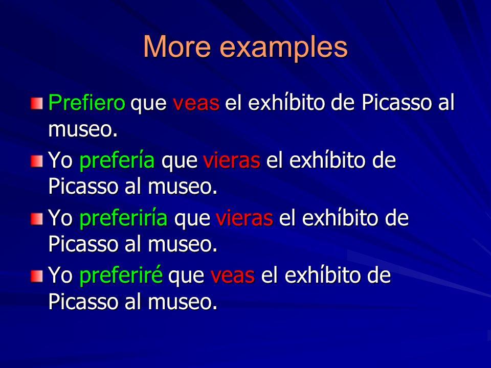 More examples Prefiero que veas el exh bito de Picasso al museo. Yo prefera que vieras el exhbito de Picasso al museo. Yo preferira que vieras el exhb