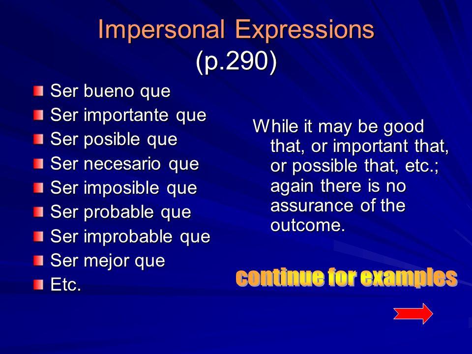 Impersonal Expressions (p.290) Ser bueno que Ser importante que Ser posible que Ser necesario que Ser imposible que Ser probable que Ser improbable que Ser mejor que Etc.