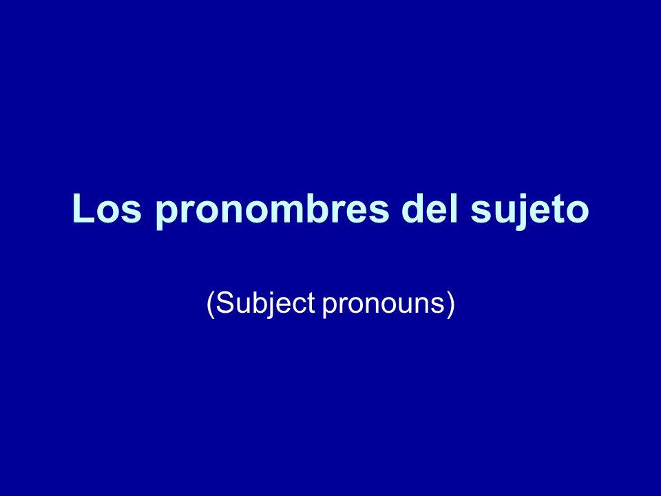 Los pronombres del sujeto Singular 1) Yo - I 2) Tú - You 3) Ud.