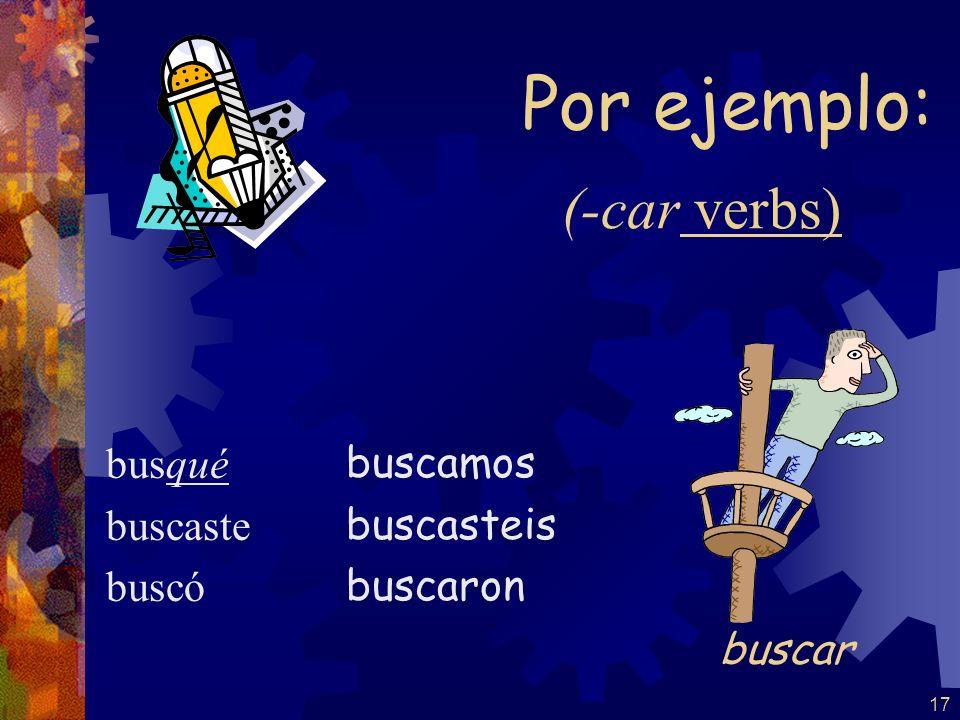 16 The yo form of the pretérito changes to conserve the sound of the infinitive: -car -gar -zar -qué -gué -cé tocé jugé rezé