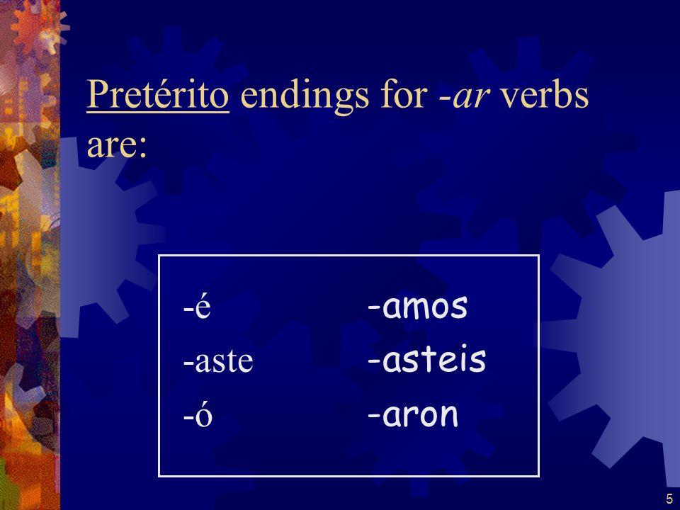 4 The stem for regular verbs in the pretérito is the infinitive stem. Tomartom- Hablarhabl- Comercom- Beberbeb- Abrirabr- Salirsal-