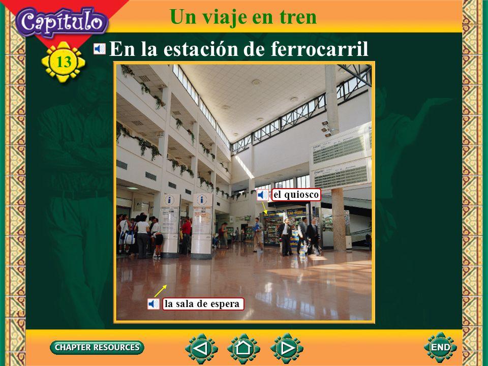 Conversación 13 En la ventanilla Un viaje en tren PasajeraUn billete para Madrid, por favor.