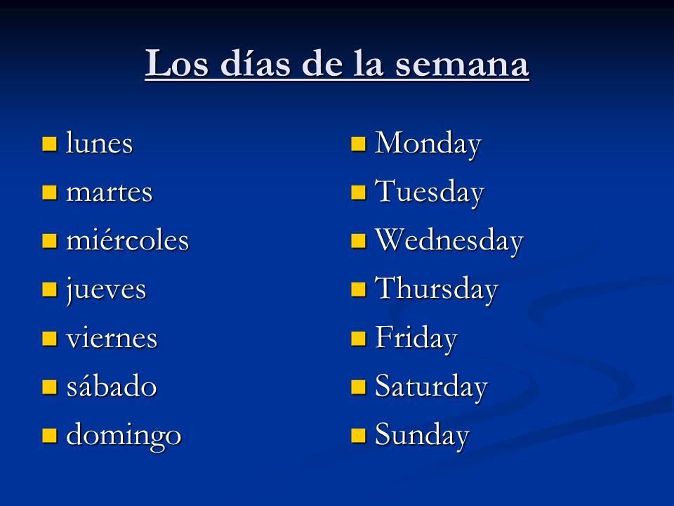 Los días de la semana un día un día una semana una semana hoy hoy mañana mañana El fin de semana El fin de semana A day A week Today Tomorrow The weekend