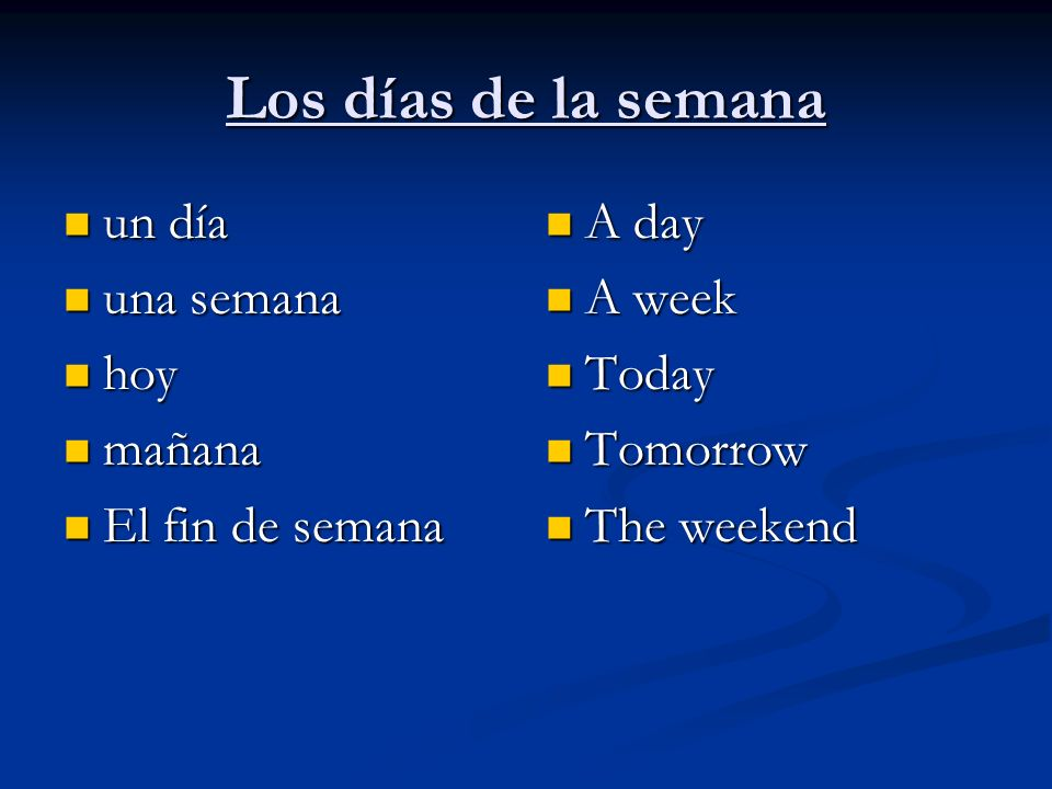 Los días de la semana un día un día una semana una semana hoy hoy mañana mañana El fin de semana El fin de semana A day A week Today Tomorrow The week