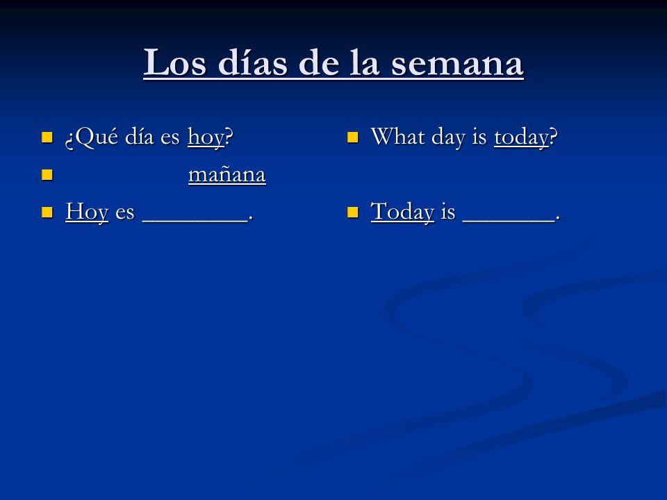 Los días de la semana ¿Qué día es hoy? ¿Qué día es hoy? mañana mañana Hoy es ________. Hoy es ________. What day is today? Today is _______.