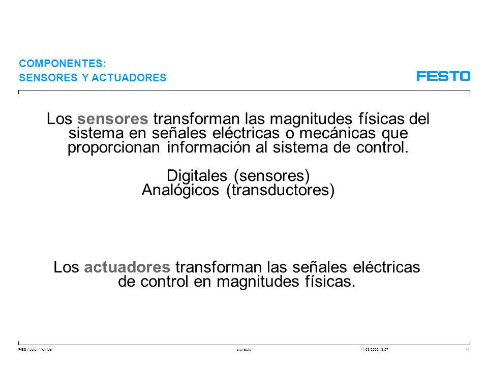 F-ES / dpto. / nombre11/03/2002 13:27proyecto11 COMPONENTES: SENSORES Y ACTUADORES Los actuadores transforman las señales eléctricas de control en mag