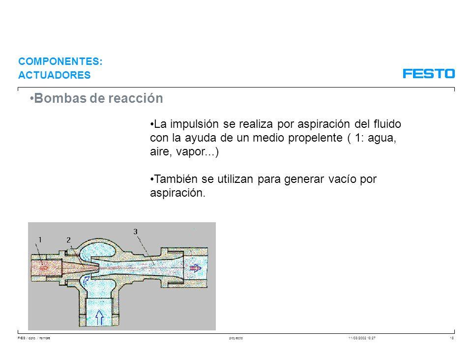 F-ES / dpto. / nombre11/03/2002 13:27proyecto18 Bombas de reacción La impulsión se realiza por aspiración del fluido con la ayuda de un medio propelen