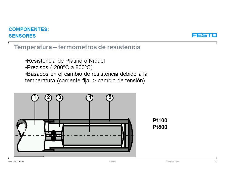 F-ES / dpto. / nombre11/03/2002 13:27proyecto19 Temperatura – termómetros de resistencia Resistencia de Platino o Níquel Precisos (-200ºC a 800ºC) Bas
