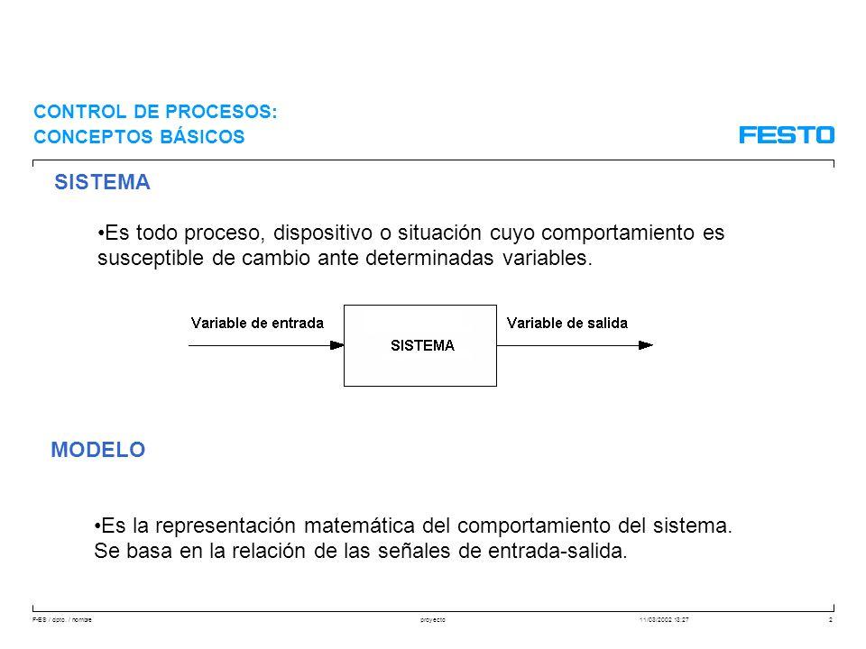 F-ES / dpto. / nombre11/03/2002 13:27proyecto2 SISTEMA Es todo proceso, dispositivo o situación cuyo comportamiento es susceptible de cambio ante dete