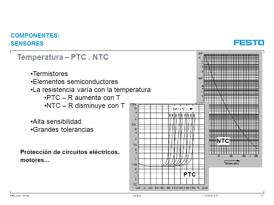 F-ES / dpto. / nombre11/03/2002 13:27proyecto21 Temperatura – PTC. NTC Termistores Elementos semiconductores La resistencia varía con la temperatura P
