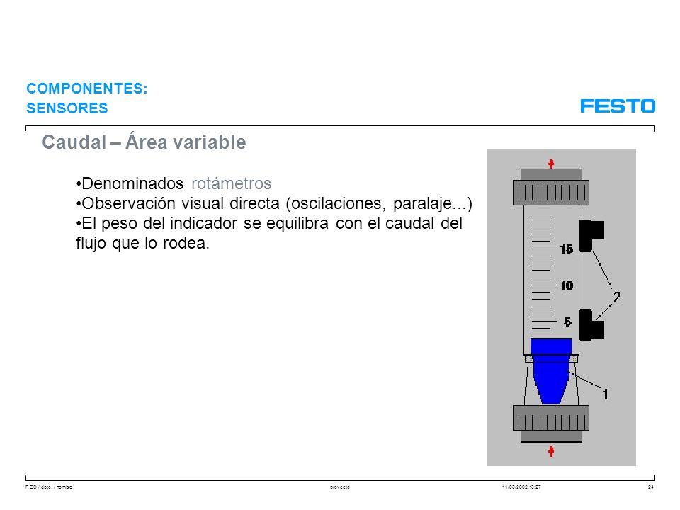F-ES / dpto. / nombre11/03/2002 13:27proyecto24 Caudal – Área variable Denominados rotámetros Observación visual directa (oscilaciones, paralaje...) E