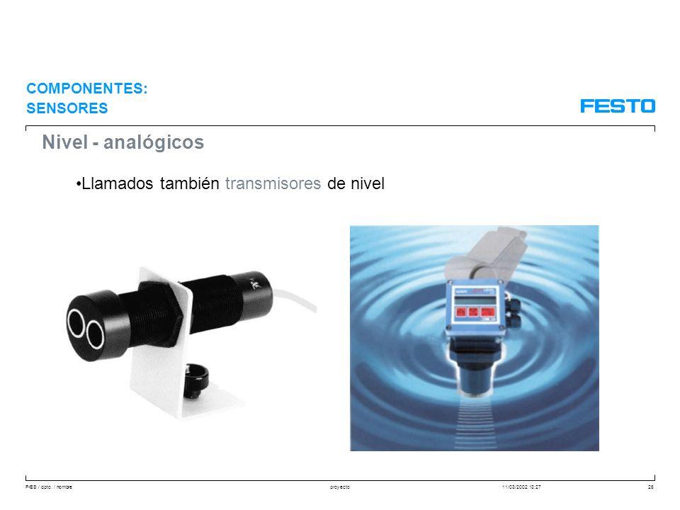 F-ES / dpto. / nombre11/03/2002 13:27proyecto26 Nivel - analógicos Llamados también transmisores de nivel COMPONENTES: SENSORES