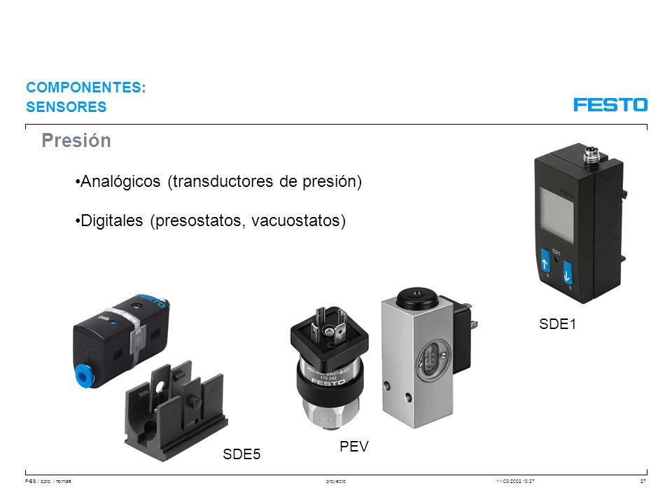 F-ES / dpto. / nombre11/03/2002 13:27proyecto27 Presión Analógicos (transductores de presión) Digitales (presostatos, vacuostatos) COMPONENTES: SENSOR