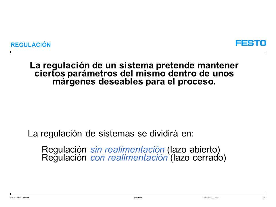 F-ES / dpto. / nombre11/03/2002 13:27proyecto31 REGULACIÓN La regulación de un sistema pretende mantener ciertos parámetros del mismo dentro de unos m