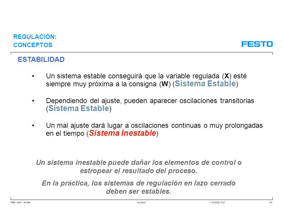 F-ES / dpto. / nombre11/03/2002 13:27proyecto34 ESTABILIDAD Un sistema estable conseguirá que la variable regulada (X) esté siempre muy próxima a la c