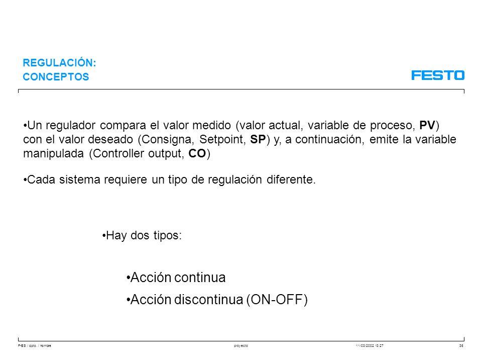 F-ES / dpto. / nombre11/03/2002 13:27proyecto36 Un regulador compara el valor medido (valor actual, variable de proceso, PV) con el valor deseado (Con