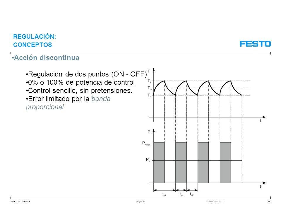 F-ES / dpto. / nombre11/03/2002 13:27proyecto38 Acción discontinua Regulación de dos puntos (ON - OFF) 0% o 100% de potencia de control Control sencil