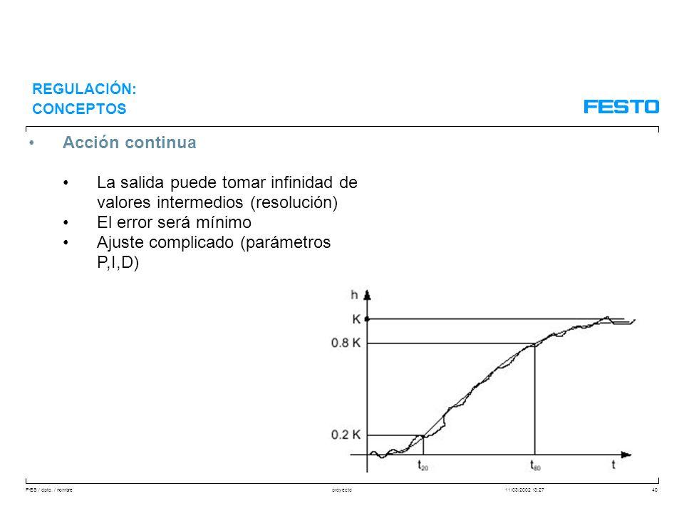 F-ES / dpto. / nombre11/03/2002 13:27proyecto40 Acción continua La salida puede tomar infinidad de valores intermedios (resolución) El error será míni
