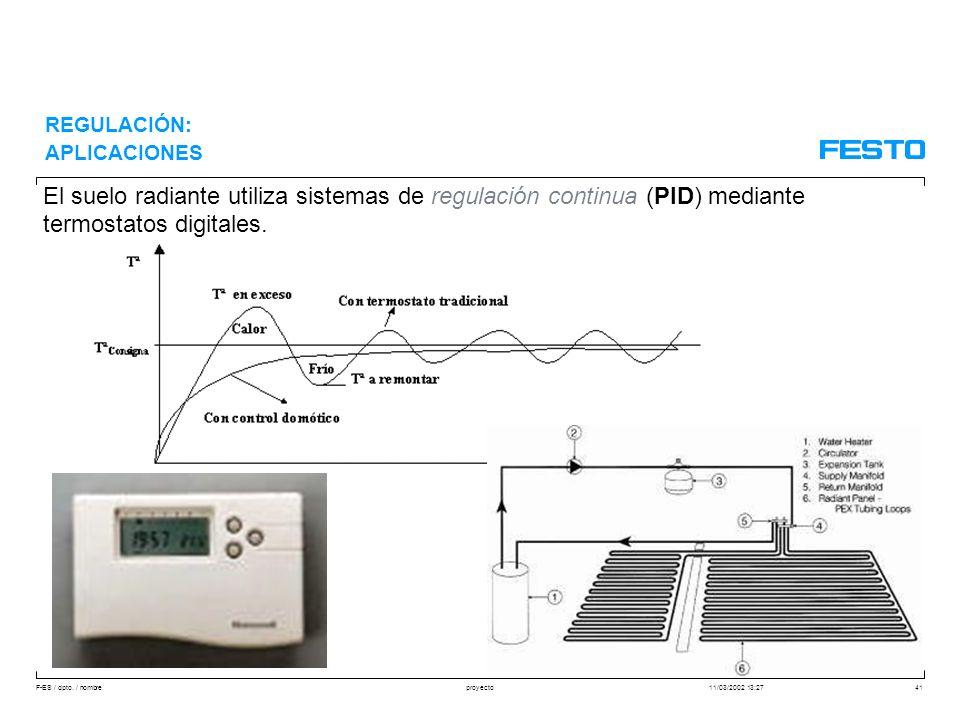 F-ES / dpto. / nombre11/03/2002 13:27proyecto41 El suelo radiante utiliza sistemas de regulación continua (PID) mediante termostatos digitales. REGULA