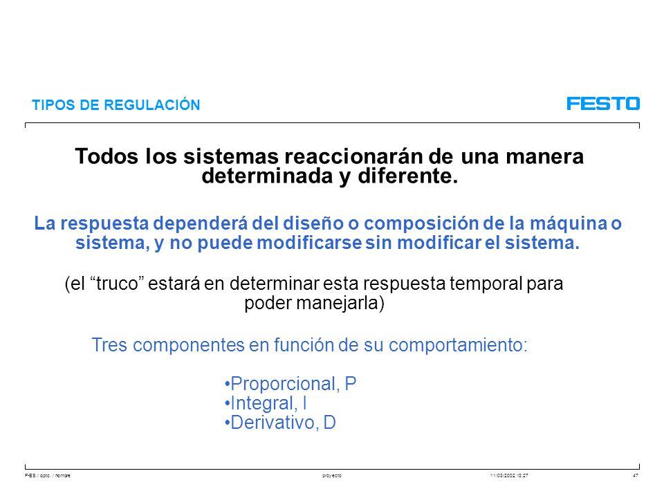 F-ES / dpto. / nombre11/03/2002 13:27proyecto47 TIPOS DE REGULACIÓN Todos los sistemas reaccionarán de una manera determinada y diferente. La respuest