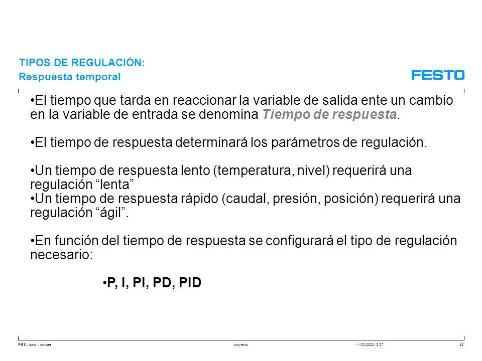 F-ES / dpto. / nombre11/03/2002 13:27proyecto48 TIPOS DE REGULACIÓN: Respuesta temporal El tiempo que tarda en reaccionar la variable de salida ente u